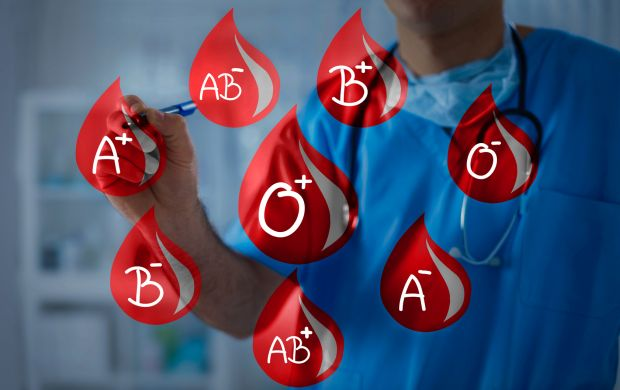 Blood drops with blood types, doctor holds a marker in the background
